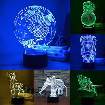Animal Touch Switch Night Light Kid Gift 3D LED Colourful Change Desk Table Lamp