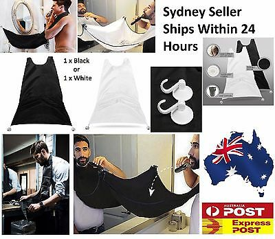 Black Beard Whiskers Bib Men's Facial Hair Trimmings Catcher Shaving Apron Cape