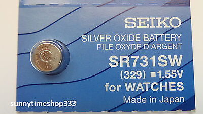 SR731SW/329, Seiko Watch Battery, Made in Japan, Silver Oxide, 1.55V