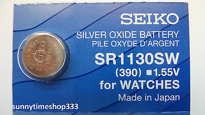 SR1130SW/390, Seiko Watch Battery, Made in Japan, Silver Oxide, 1.55V