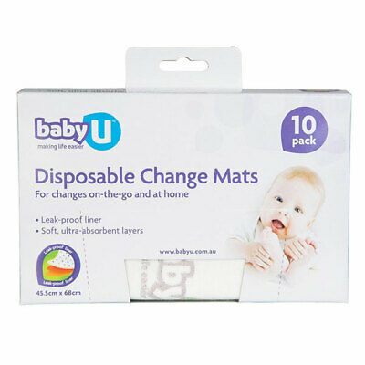 Baby U Disposable Change Mats 10 Pack 45.5Cm X 68Cm On The Go Soft Leak Proof