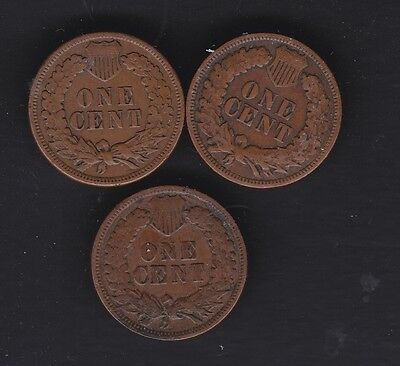 USA 3 Indian Head cents  1897, 1908 &1883