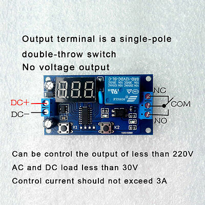 DC 12V Digital Display Trigger Cycle Time Delay Relay Module Board LO