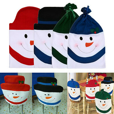 4Pcs Snowman Chair Back Cover Christmas Dining Room Chairs Covers Decorations