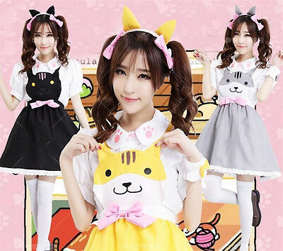 Neko Atsume Cat Meow Backyard Anime Girl's Sweet Cat Cosplay Lolita Dress Set