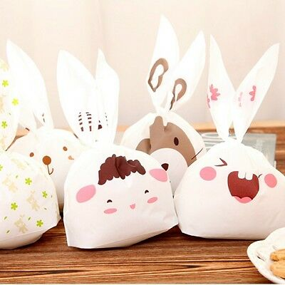 20pcs/lot Cute Rabbit Ear Cookie Bags Self-adhesive Bags for Biscuits Snack Bag