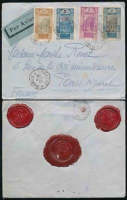 FRENCH GUINEA 1933 TPO MAMOU a CONAKRY MULTI FRANKING AOF ISSUES + SEALS AIRMAIL