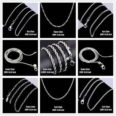 WHOLESALE 925 Sterling Silver 1-4mm 16-30'' Figaro Box Curb Snake Chain Necklace