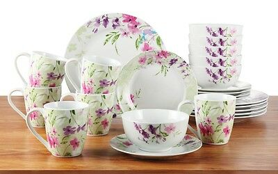 Floral Dinner Set 24 Piece Country Round Porcelain Dishes Plates Bowls Mugs