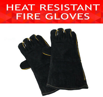 Fireside Heat Resistant Pair Gloves Leather Fire Proof Heated Welding Oven BBQ
