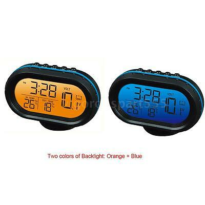Car Digital Thermometer Volt Meter Monitor Clock Freeze Alert Orange + Blue S4X2