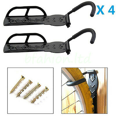 4 x Heavy Duty Steel Bike Bicycle MTB Wall Mount Display Storage Hanger Bracket