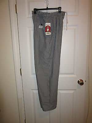 CHEF WORKS AUTHENTIC) Chef Pants size Large Black White checked  NWT