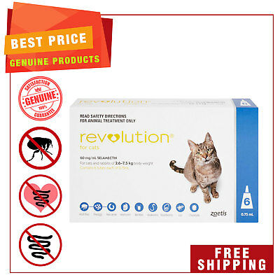 Revolution for Cats 2.6 to 7.5 Kg Blue Pack 6 Pipettes Heartworm Flea Prevention