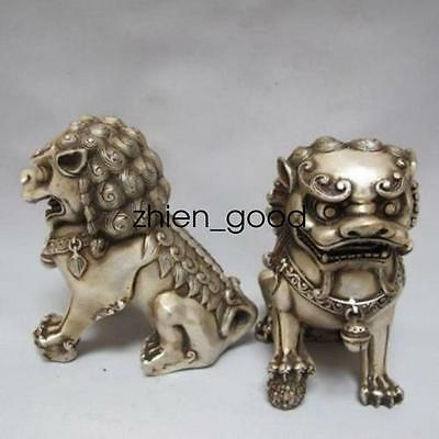 Rare Old Chinese handwork Tibet silver carved guard  Lion pair statues CZ374