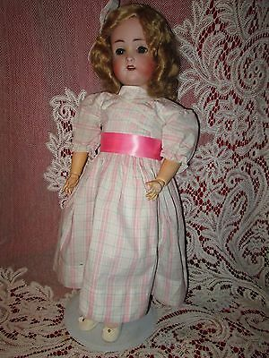 .Antique German bisque head doll, Hertel &Schwab 24 inch nice old clothes