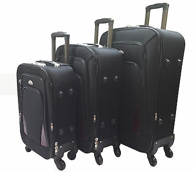 New Black Canvas 4 Wheel Spinner Suitcase Set Luggage Trolley Case Cabin Hand