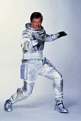 Moonraker Roger Moore iconic James Bond 007 gun pose in silver space suit Poster