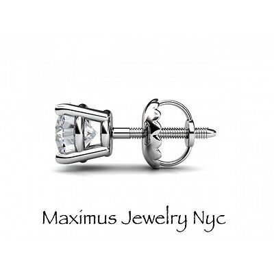 1Ct Solitaire Round Cut Diamond Screw Back Stud Earrings 14K White Gold