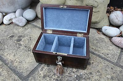 LOVELY 19c VICTORIAN ROSEWOOD  ANTIQUE INLAID JEWELLERY BOX - FAB INTERIOR