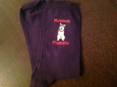 Sled Dog Alaskan Malamute Mummy Purple Socks Birthday Gift Present Size 6 To 8