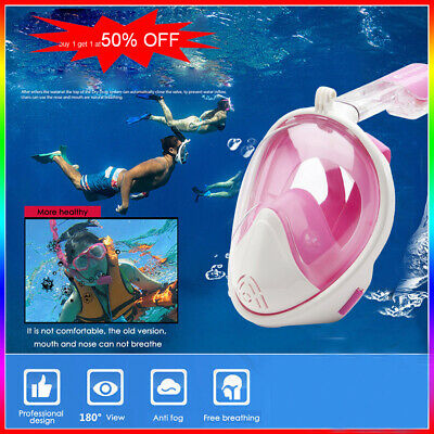 180 Full Face Head Snorkel Mask Diving Scuba Fin Set Anti Fog Adult For GoPro 4