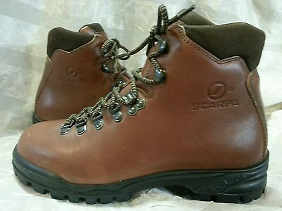 Scarpa Sale Womens 38/7 Leather Brown Comfort Durable Hiking Steel Toe Boots Exc