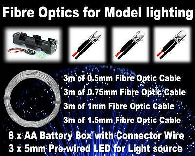 Fibre optic lighting kit with 3 x Led and 4 cable sizes ideal small scale models