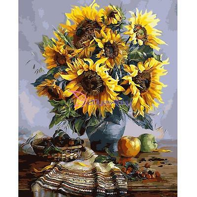 30*40cm DIY Paint By Number Kit Digital Oil Painting Canvas Beauty Sunflowers