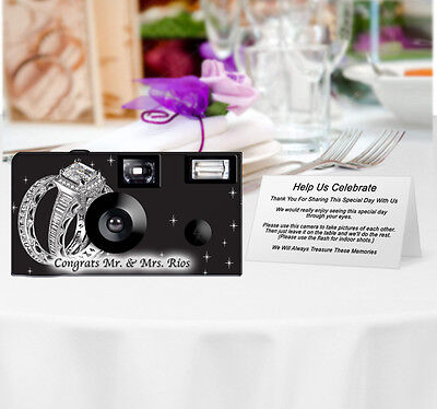 20 Shimmering Engagement on Black Disposable Cameras-PERSONALIZE-wedding camera