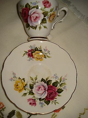 Vintage Royal Sutherland Fine Bone China Roses Cup & Saucer Staffordshire Englan