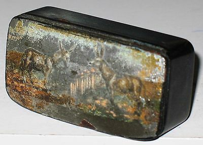 Victorian Antique Paper Mache Lacquer Snuff Box hand painted Donkey pair scene