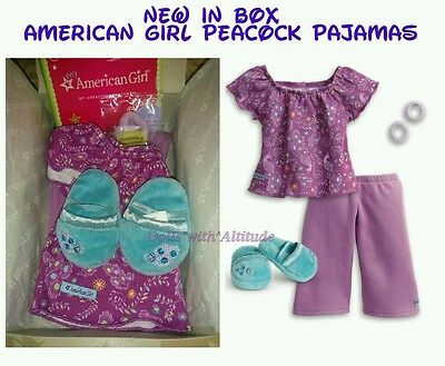 NEW My American Girl Purple Peacock Pajamas PJ's Slippers for Doll Truly Me