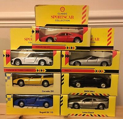 7 x SHELL MAISTO SPORTSCAR/SUPERCAR/CLASSIC SPORTSCAR COLLECTIONS - UNUSED