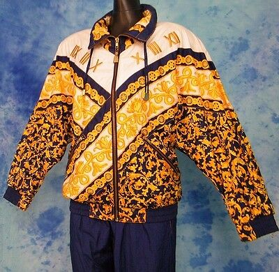 ViNTAGE 80s GOLD BLUE EMBROiDERED PANT TRACK SUiT WiNDBREAKER TENNiS JACKET M/L