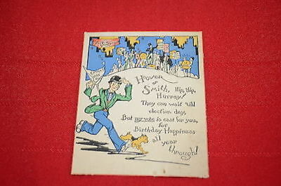1928 President Card Hoover or Smith Hip Hip Hurray Birthday Vote  1344