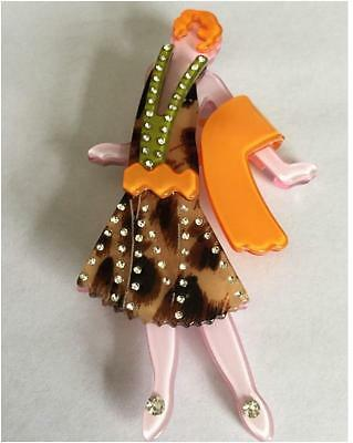 New Lucite Flapper Girl Lady Orange Animal Arts Vintage Deco Pearlized Brooch