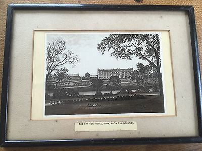 Early c19th Print The Railway Station Hotel York from grounds