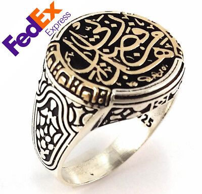 Special Islamic Design 925 Sterling Silver Turkish Handmade Ottoman Men Ring