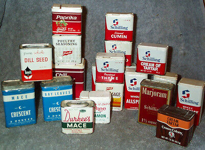 20 Old Spice Tins Durkee's, Schilling, Crescent, Tone's, Crown Colony & French's