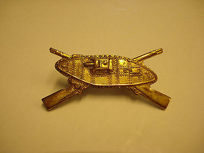 Nice Rare,scarce, Original, Brass Tank Infantry Officer's Badge/pin  #t-6
