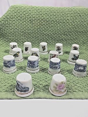 Asst. Lot (15) Collectible Thimbles Porcelain Ceramic Birds Flowers Blue White