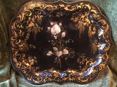 Antique Early 19th Century Georgian Toleware Tray Decorated with Mother of Pearl
