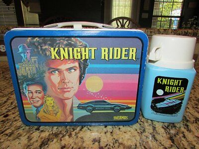 Vintage Very Nice Old Rare 1984 Knight Rider Metal Lunchbox & Thermos