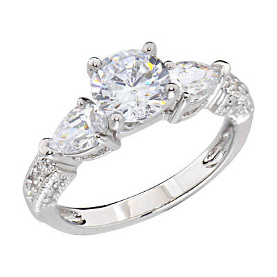 Women's Engagement Wedding Ring Round Cubic Zirconia White Gold Plated Band