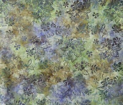 Quilting Patchwork Batik Fabric EARTHY PURPLE LEAVES Wide Backing 270x50cm Ne...