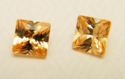 Champagne Colour Cubic Zirconia Princess Cut 5mm Loose Stones Pack of 2