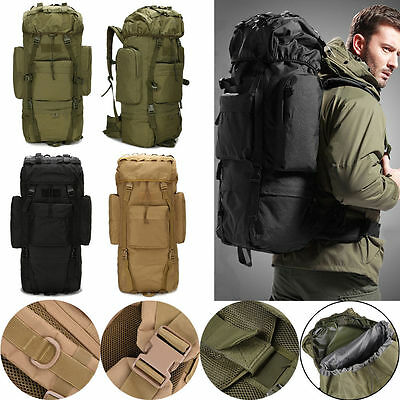 65L Military Tactical Backpack Rucksack Outdoor Professional Hiking Camping Bag