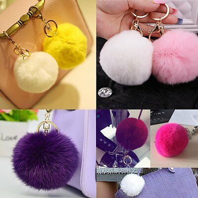 Keychain Pendant Cute Key Ring Rabbit Fur Ball PomPom Cell Phone Car Handbag