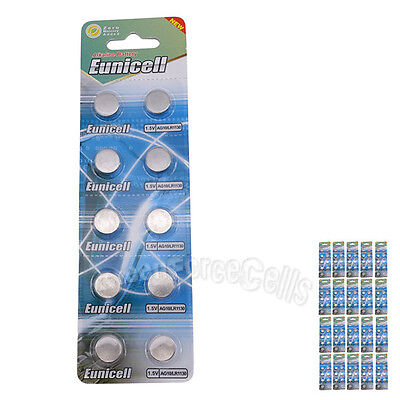 200 pcs AG10 GP189 SR54 LR1130 L1131 1.5V Alkaline Button Cell Battery EuniCell